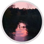 Wildlife Sunset Round Beach Towel