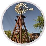 Wildseed Farms Windmill Round Beach Towel