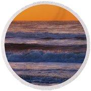 Wildwood Beach Golden Sky Round Beach Towel