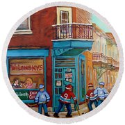 Wilensky Montreal-fairmount And Clark-montreal City Scene Painting Round Beach Towel by Carole Spandau