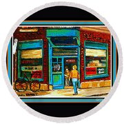 Wilenskys Art Famous Blue Door Posters Prints Cards Originals Commission Montreal Painting Cspandau  Round Beach Towel