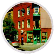 Wilenskys Famous Light Lunch Diner Corner Clark And Fairmount Montreal City Scene Carole Spandau Round Beach Towel