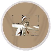 Will Rogers Informal Portrait Unknown Photographer Or Location 1924-2014  Round Beach Towel