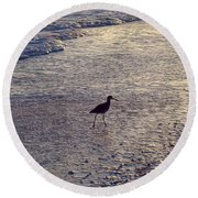 Willet In The Waves Round Beach Towel