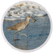 Willet With Sand Crab Round Beach Towel