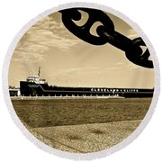 William G Mather In Sepia Round Beach Towel
