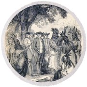 William Penns Treaty With The Indians Round Beach Towel