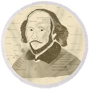 William Shakespeare Typography Portrait  Round Beach Towel