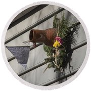 Williamsburg Bird Bottle 1 Round Beach Towel by Teresa Mucha