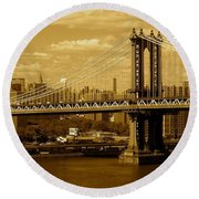 Williamsburg Bridge New York City Round Beach Towel