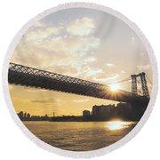 Williamsburg Bridge - Sunset - New York City Round Beach Towel
