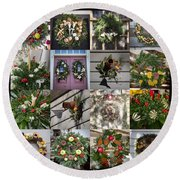 Williamsburg Christmas Collage Squared 2 Round Beach Towel