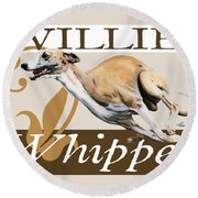 Willie The Whippet Round Beach Towel by Liane Weyers