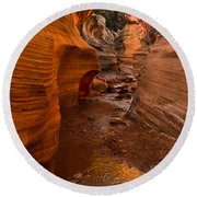 Willis Creek Slot Canyon Round Beach Towel by Robert Bales