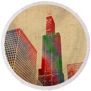 Willis Sears Tower Chicago Illinois Watercolor On Worn Canvas Series Round Beach Towel by Design Turnpike
