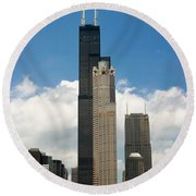 Willis Tower Aka Sears Tower Round Beach Towel by Adam Romanowicz