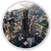 Willis Tower Chicago Aloft Round Beach Towel by Steve Gadomski