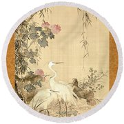 Willow And Herons Round Beach Towel