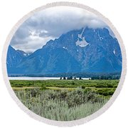 Willow Flats Overlook In Grand Teton National Park-wyoming   Round Beach Towel
