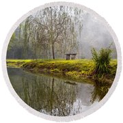 Willow Tree At The Pond Round Beach Towel