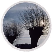 Willow Trees In Winter Round Beach Towel