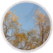 Willows And Sky Round Beach Towel