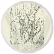Willows By The Lake Round Beach Towel