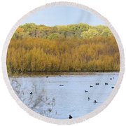 Willows Of October Round Beach Towel
