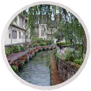 Willows Over The River Round Beach Towel
