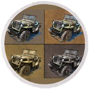 Willys Jeep Mb Car Drawing Round Beach Towel