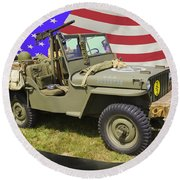Willys World War Two Army Jeep And American Flag Round Beach Towel