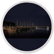 Winchester Bay Marina - Oregon Coast Round Beach Towel