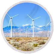 Wind Farm Palm Springs Round Beach Towel