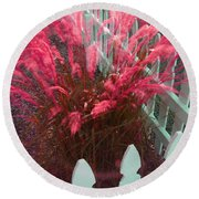 Wind In The Grass - Red Round Beach Towel