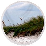Wind In The Seagrass Round Beach Towel