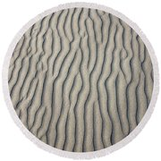 Wind Makes Patterns On The Beach Round Beach Towel