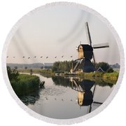 Wind Mill On A Canal, Holland Round Beach Towel