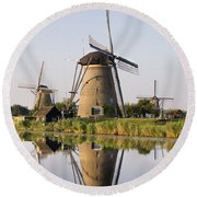 Wind Mills Next To Canal, Holland Round Beach Towel