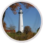 Wind Point Lighthouse 74 Round Beach Towel