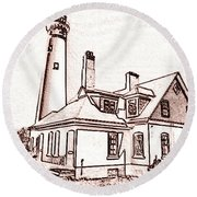Wind Point Lighthouse Drawing Mode 1 Round Beach Towel