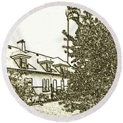 Wind Point Lighthouse Drawing Mode 2 Round Beach Towel