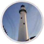 Wind Point Lighthouse Round Beach Towel