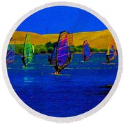 Wind Surf Lessons Round Beach Towel