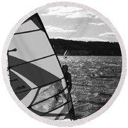 Wind Surfer II Bw Round Beach Towel