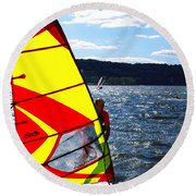 Wind Surfer II Round Beach Towel