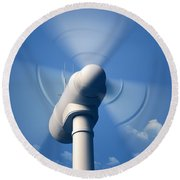Wind Turbine Rotating Close-up Round Beach Towel