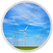 Wind Turbines Farm Round Beach Towel