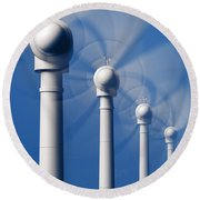 Wind Turbines In Motion From The Front Round Beach Towel