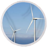Wind Turbines In The Air Round Beach Towel