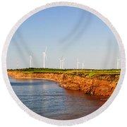 Wind Turbines On Atlantic Coast Round Beach Towel